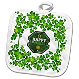 3dRose Uta Naumann Sayings and Typography - Ireland Holiday Motivational and Clover Frame - Happy St Patricks Day - 8x8 Potholder (phl_275291_1)