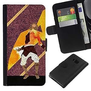 NEECELL GIFT forCITY // Billetera de cuero Caso Cubierta de protección Carcasa / Leather Wallet Case for HTC One M9 // Resumen Guerrero Arte