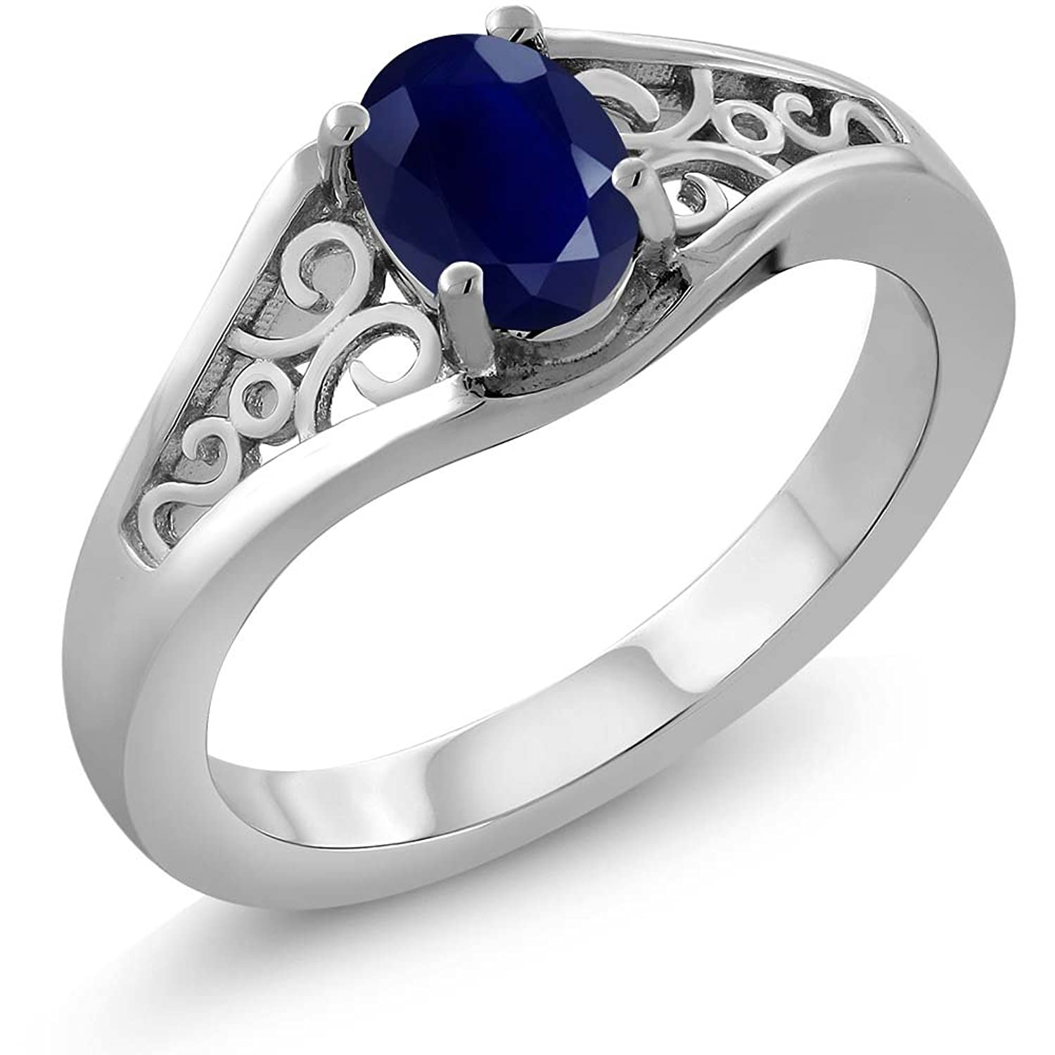 Sterling Silver Genuine Blue Sapphire Women's Ring (1.02 cttw, Available in size 5, 6, 7, 8, 9)