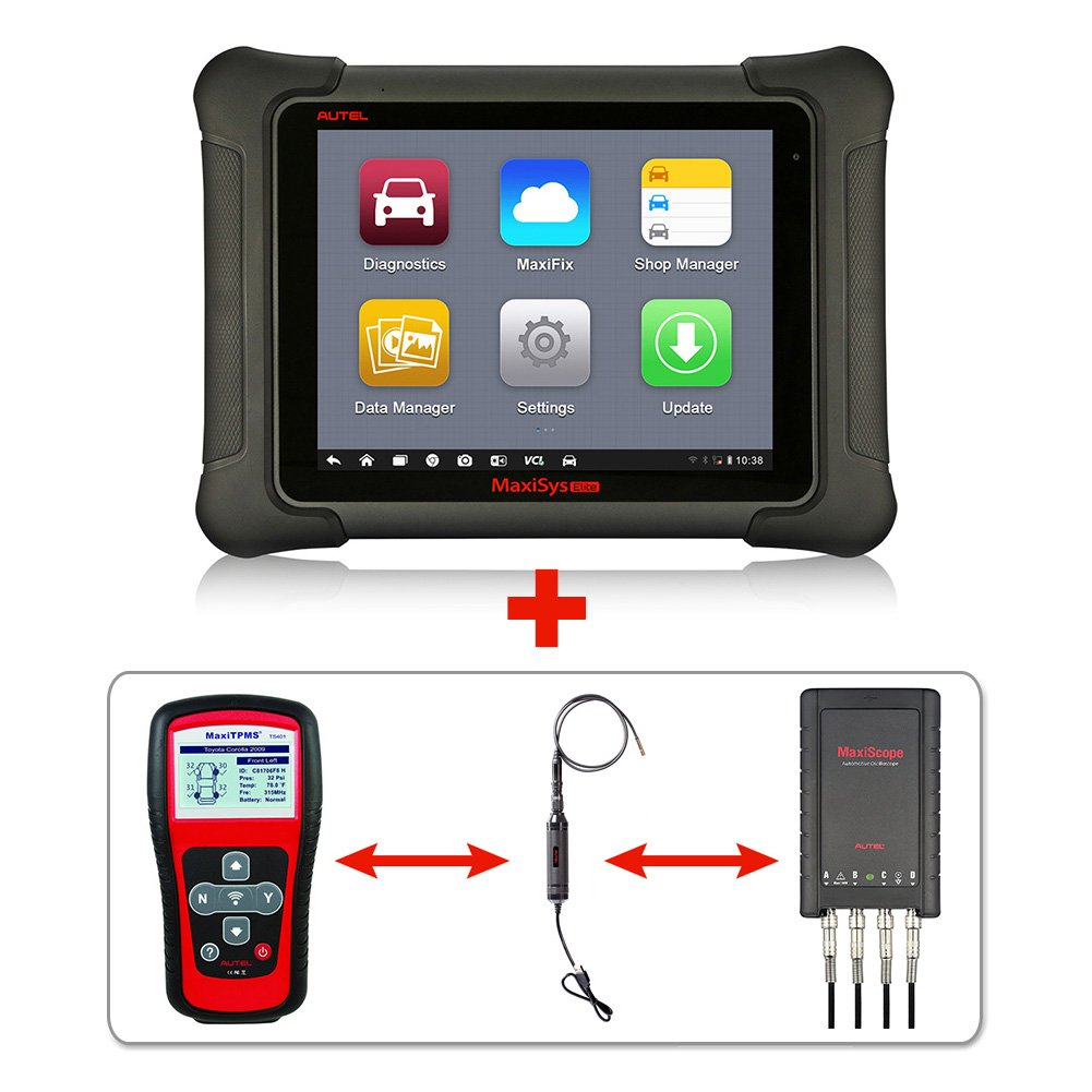 Autel Maxisys Elite+TS401+MV105+MP408 –Diagnostic Tool with ECU Coding & Programming TPMS Diagnostics & Service and Inspection Video Scope with 2 Years Free Update