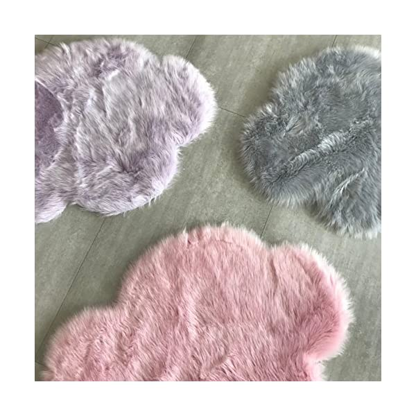 Machine Washable Faux Sheepskin Cotton Candy Pink Cloud Area Rug 32″ x 44″ – Soft and Silky – Perfect for Baby's Room, Nursery, playroom (2′ 7″ x 3′ 7″) – Fake Fur Area Rug – Cotton Candy Pinlk Cloud