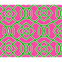 Moroccan Fabric - Moroccan Lattice- Pink Green Copy by creativeworksstudios - Moroccan Fabric with Spoonflower - Printed on Fleece Fabric by the Yard