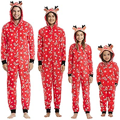 392279e1be KFSO Elk Antlers Matching Family Pajamas Christmas Sleepwear Cotton Baby  Boy Girl PJs Zipper Jumpsuit (Kids