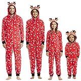 KFSO Elk Antlers Matching Family Pajamas Christmas Sleepwear Cotton Baby Boy Girl PJs Zipper Jumpsuit (Kids, 12-24 Months)
