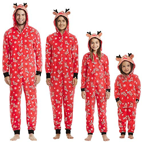 KFSO Elk Antlers Matching Family Pajamas Christmas Sleepwear Cotton Baby Boy Girl PJs Zipper Jumpsuit (Dad, XL) ()