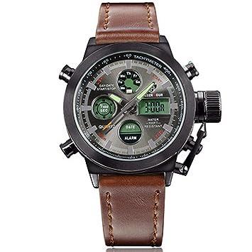 WULIFANG Función De Reloj Digital Led Moda Deportiva Ejército Hombres Relojes De Lujo De Hombres Reloj Reloj Casual Marrón Negra: Amazon.es: Deportes y aire ...