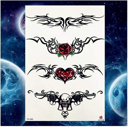 DRTHUKG Etiqueta Engomada del Tatuaje Tulipán Negro Totem Tatuajes ...