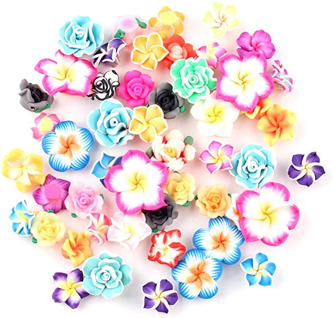 200pcs Resin Flower Pendants Flatback Smooth Cute Dangle Charms Crafting 33~34mm