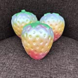 1PC Rainbow Strawberry Squishy Super Jumbo Scented Slow Rising Rare JUNKE Fun Toy (Multicolor)