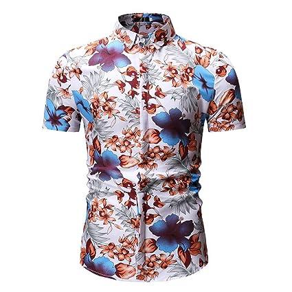 35940a58ab46 Xlala Men s Fashion Shirt Printed Casual Lapel Button Down Standing Collar Short  Sleeve Hawaii Top Hip
