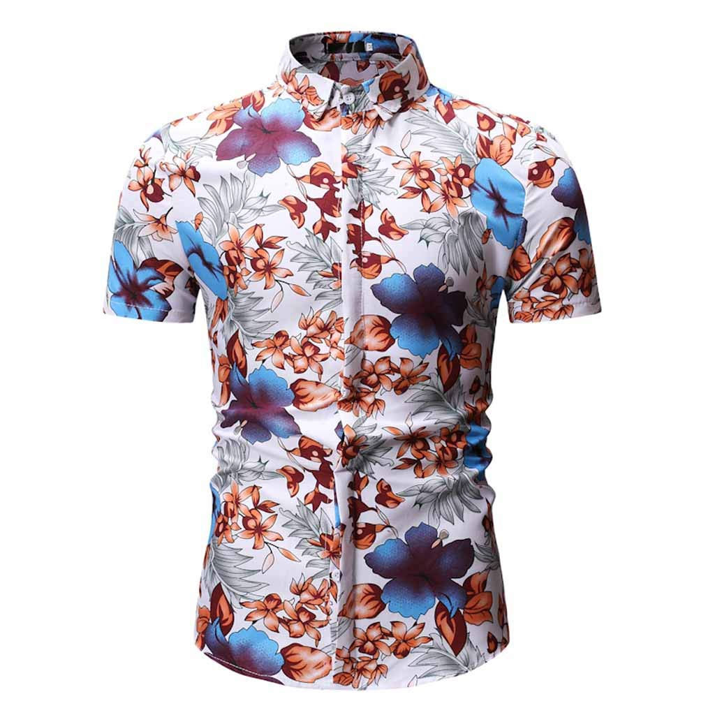 Xlala Men's Fashion Shirt Printed Casual Lapel Button Down Standing Collar Short Sleeve Hawaii Top Hip Hop Hippie Personality Polo Shirt (Blue, M)