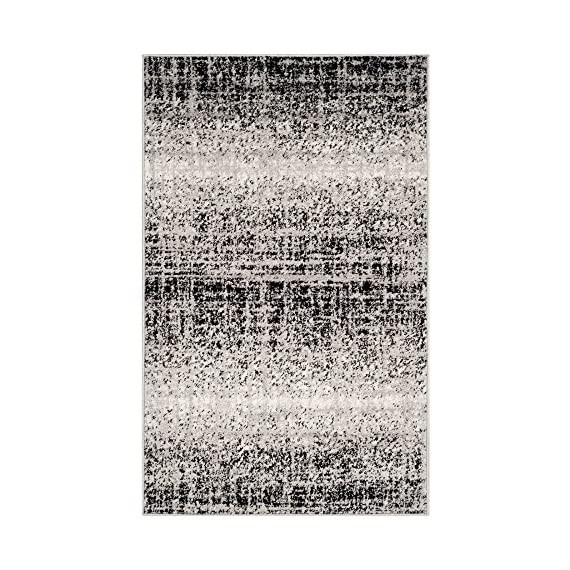 Safavieh Adirondack Collection ADR116A Silver Black Modern Abstract Distressed Runner - Choose from available sizes and shapes Choose from available colors Easy-care polypropylene material - living-room-soft-furnishings, living-room, area-rugs - 61RirkYUdgL. SS570  -