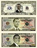 Barack Obama 44th President Triple Collectors Bill Collector Set 1-One Million Dollar Bill, 1-2008 FEDERAL OBAMA NOTE Bill & 1-2009 FEDERAL INAUGURAL NOTE 2009 Dollar Bill