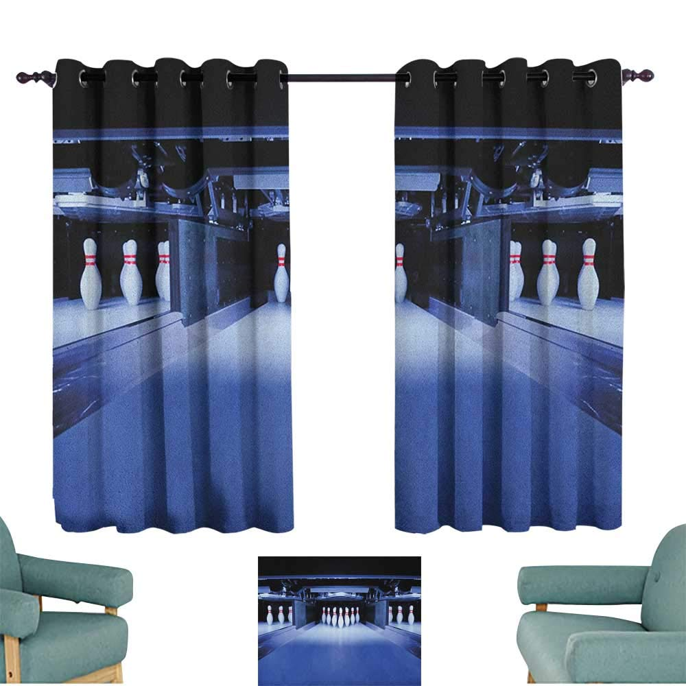 Anzhutwelve Bowling Party,Drapes Girls Symmetrical Bowling Pins on an Empty Alley Hobby Fun Challenge Theme 52''x72'' Children Nursey Room Art Print