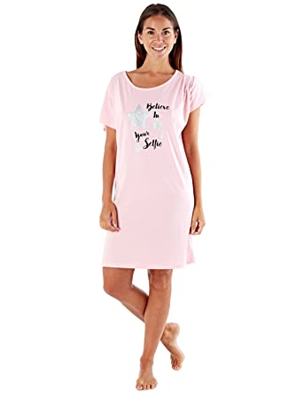 51bec6f2da5b Selena Secrets Womens LN757 Cotton Nightshirt Believe In Your Selfie  Amazon .co.uk  Clothing