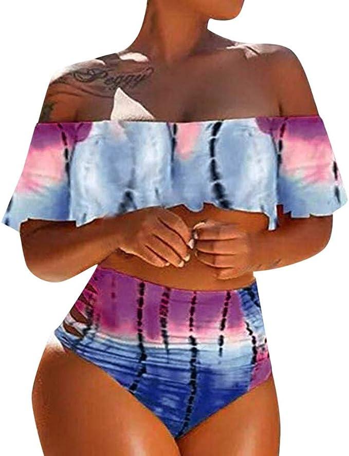 Amazon.com: Bañador para mujer, bikini de cintura alta para ...