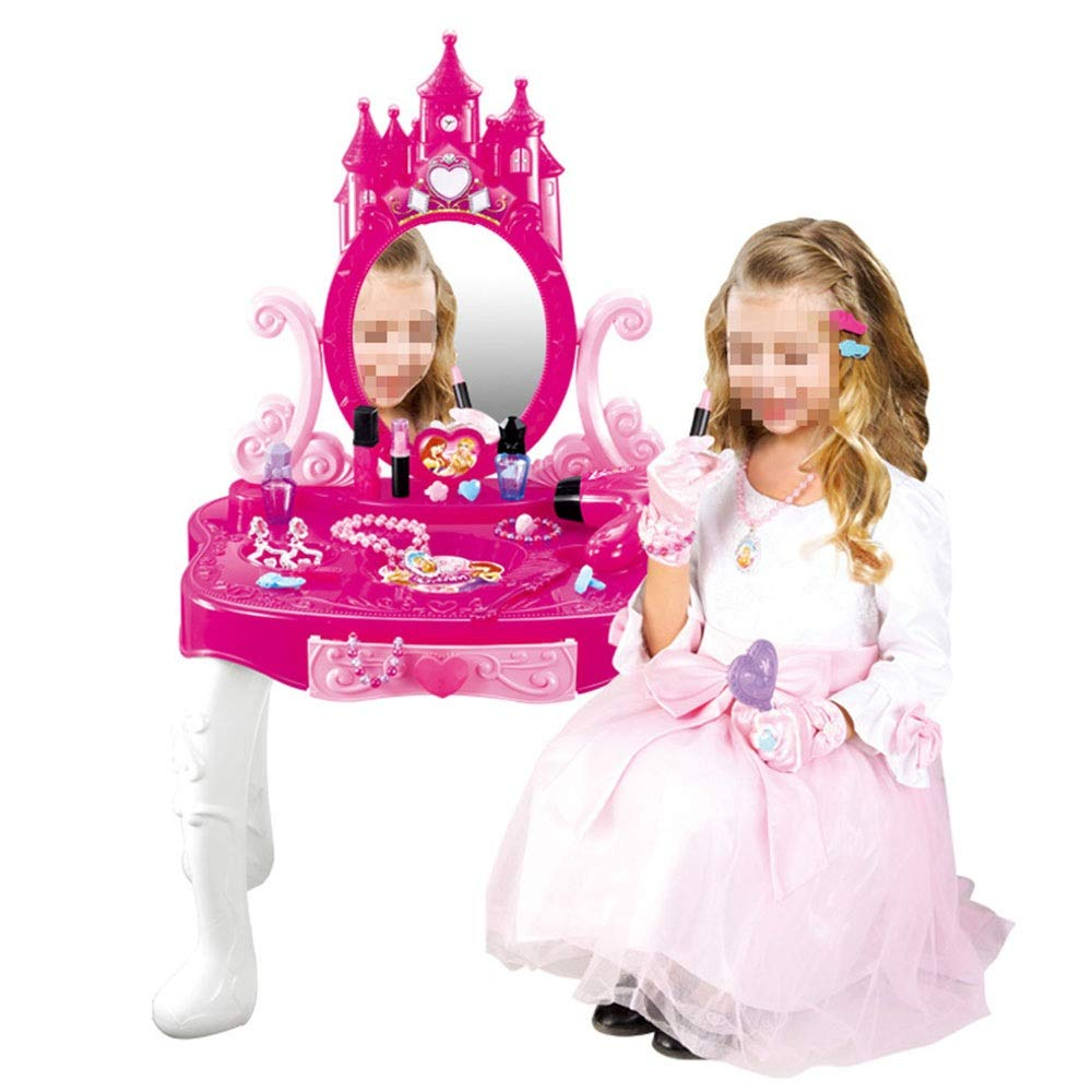 Dressing Table Toy Girl Makeup Toy Dress Up Toy Bag Little Girl and Child Beauty Salon Toy Children's Dressing Table Toys (Color : Pink, Size : 78.546cm)