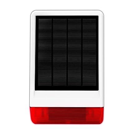 ERAY JD-W06 Sirena Solar Inalámbrica para Exteriores Impermeable 120db con Luz Flash, Compatible con el Sistema de Alarma ERAY WM3FX y WS1N