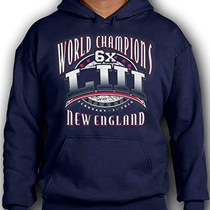 New England 6X Time World Champions LIII Football Champs Navy Blue  Sweatshirt (Medium) c79a96a33