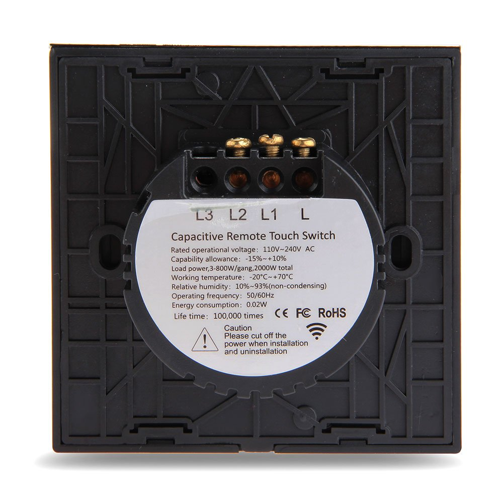 SUNLUXY® 2 Gang Touch Glas Lichtschalter an der Wand Schalter mit ...