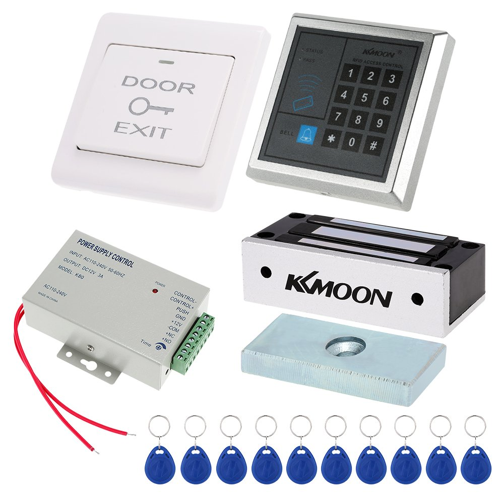 Keypad Door Access Kits, KKmoon Door Entry Access Control System with Password Host Controller & 60KG/132lb Electric Magnetic Lock & Door Switch & DC12V Power Supply & 10pcs 125KHz RFID Cards