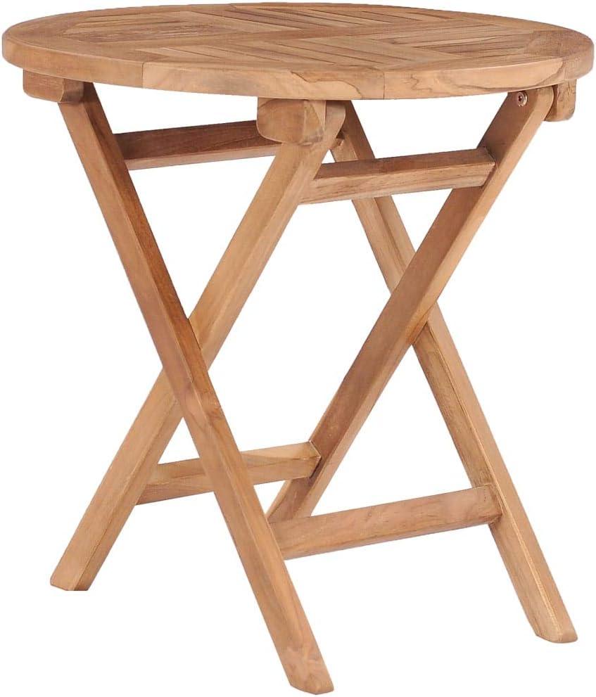 Festnight Tavolino Da Giardino Rotondo Pieghevole In Legno Massello Di Teak 45 X 45 Cm Tavolino Da Caffe Pieghevole Da Giardino Da Balcone Arredamento Da Giardino Casa E Cucina