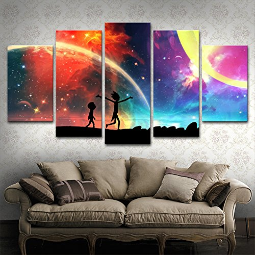 5 Panels Canvas Painting Rainbow Painting Poster Wall Art Canvas Art Modern Home Decor Picture For Living Room No Frame(30x50cmx2,30x70cmx2,30x80cmx1)