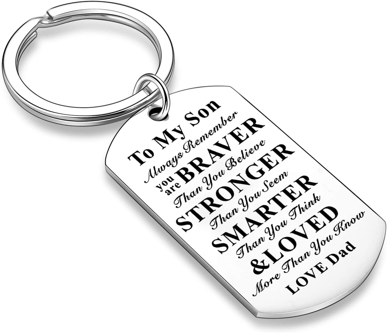 Inspirational Keychains for Daughter Son Gifts Dog Tag Keychain Belive Confident Gifts for Son Daughter from Mom Dad Dad to Daughter