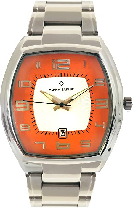 Alpha Saphir Reloj Analógico para Hombre de Cuarzo con Correa en Acero Inoxidable SO-1660-LQ