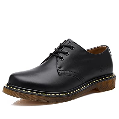 a20df73f69a6d7 Qianling Collection Men s Oxford Casual Lace up Shoe Low Top Work School  Soft Leather Black US5