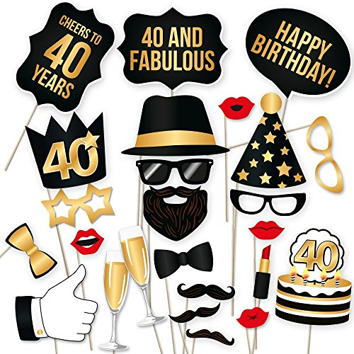 40th Birthday Photo Booth Props – Fabulous Forty Party Decoration Supplies For Him &Her, Funny Fortieth Bday Photobooth Backdrop Signs For Men And Women, Photography Black And Gold Décor – 34 Pie