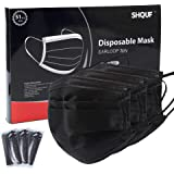 SHQUF Face Mask Disposable 51 Packs Black