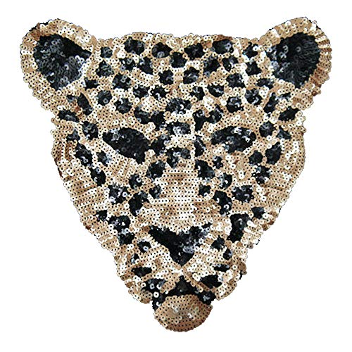 Artem Leopard Head Patch 1Pcs Sequins Sew on Patch Rope Embroidered Sequins Pattern Cloth Stickers for Decoration Clothing ()