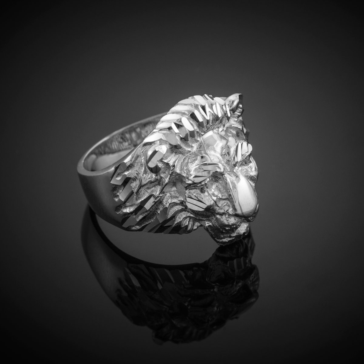 Fine 925 Sterling Silver Textured Band Lion Head Ring for Men (Size 10.5) by Men's Fine Jewelry (Image #2)