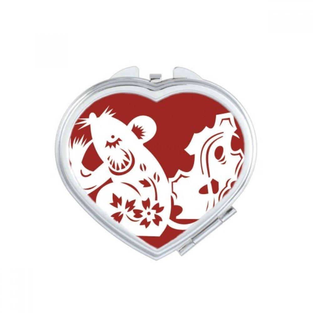 DIYthinker Year Of Rat Animal China Zodiac Pattern Heart Compact Makeup Mirror Portable Cute Hand Pocket Mirrors Gift
