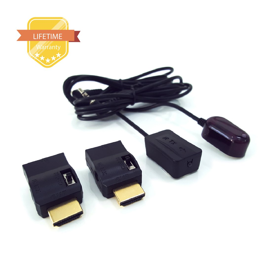 HDMI IR Extender to Control A/V Devices for Greater Distance up to 70ft Infrared IR Extender kit Include IR Receiver+IR Emitter+HDMI Adapter by Gefone