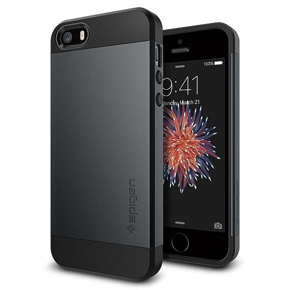 new style 1c17e fbbf9 Spigen Slim Armor Designed for Apple iPhone 5S Case (2013) / Designed for  iPhone SE Case (2017) / Designed for iPhone5 Case (2012) - Metal Slate