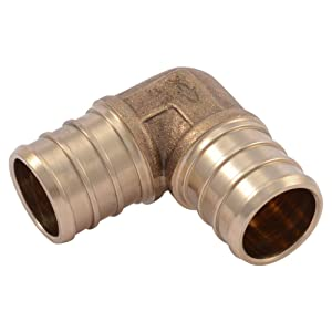 "SharkBite UC256LFA10 3/4"" 90 Degree Elbow PEX Barb Fitting (10-Pack), Brass"