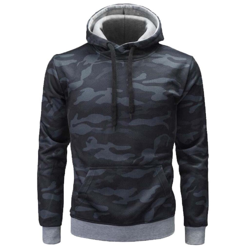 WM & MW Boys Men's Sport Hoodies Fashion Design Casual Half Zipper Hooded Swearshirt Pullover Tops Outwear (XL=(US:L), Black)