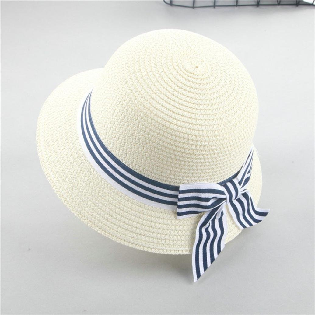 Amazon.com: 2018 Summer PeiZe Sun Protection Breathable Straw Bowknot Outdoor Fishing Hat Cap for Kids Girls (CO): Beauty