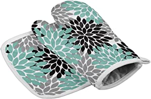 Chic D Kitchen Oven Mitts Gloves and Pot Holders Sets,Dahlia Pinnata Floral Black Gray Teal Heat Resistant Oven Mittens and Potholders Hot Pads Set Non-Slip for Cooking BBQ Baking Grilling
