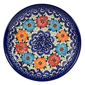 Traditional Polish Pottery, Handcrafted Ceramic Dessert Plate 19cm, Boleslawiec Style Pattern, T.102.BLUELACE