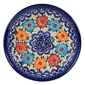 Traditional Polish Pottery, Handcrafted Ceramic Dessert Plate 19cm, Boleslawiec Style Pattern, T.102.BLUELACE
