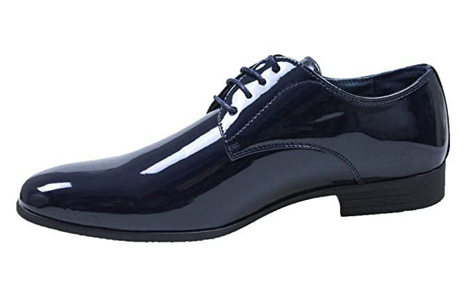 classic fit 16388 fcd5f Evoga Scarpe uomo Class blu lucido vernice eleganti cerimonia