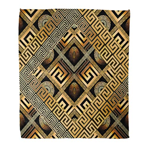 Golee Throw Blanket Modern Meander Abstract Black Gold Greek Key 3D Geometric Shapes 50x60 Inches Warm Fuzzy Soft Blanket for Bed Sofa