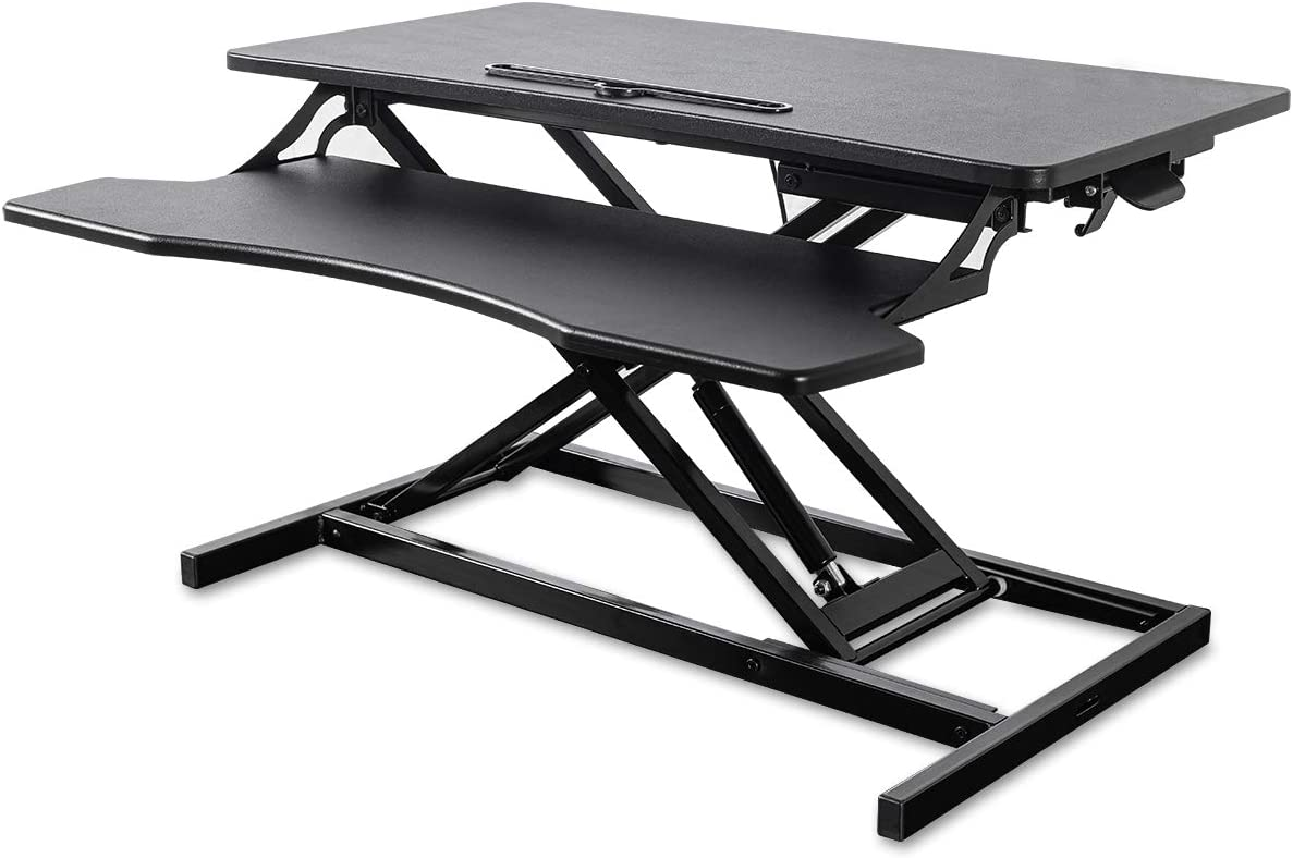 Elangst Black Height Adjustable 32 inch Stand up Desk Converter, Quick Sit to Stand Tabletop Dual Monitor, Ergonomic Riser Laptop Computer Workstation