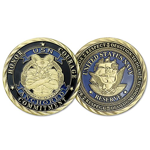 Indeep US Navy Challenge Coin Honor Respect Devotion to Duty Anchored (Bronze Coin Medal)
