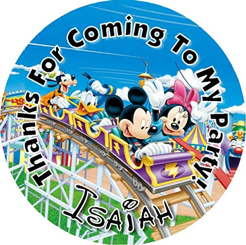 MICKEY ROLLER COASTER BIRTHDAY PARTY STICKERS FAVOR LABELS FAVORS VARIOUS SIZES