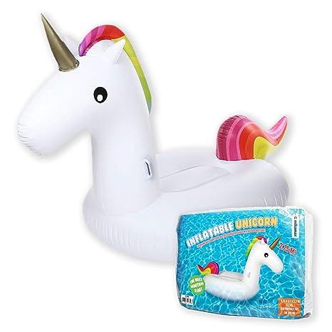 mikamax - Unicornio inflable - Inflatable Unicorn - Blanco - 2.75m - Pool Party
