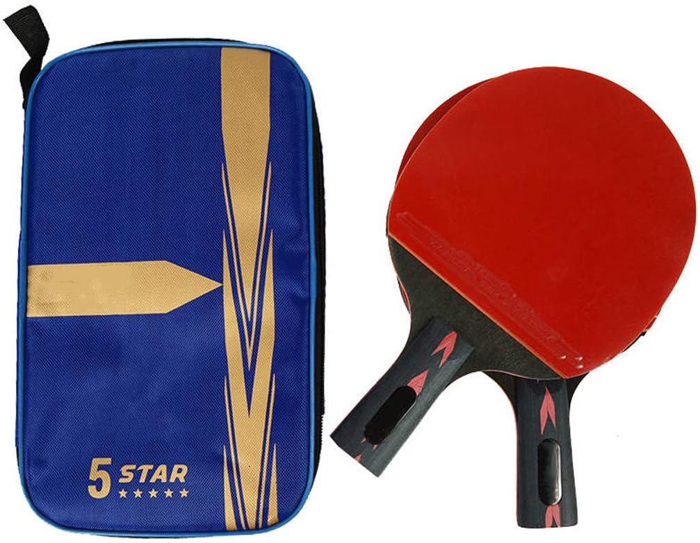 RENYAFEI Portátiles Raquetas De Tenis De Mesa Profesión Ping Pong Set Madera De Wengé De 5 Capas + Fibra De Carbono De 2 Capas para La Escuela, El Hogar, El Club Deportivo,Straight